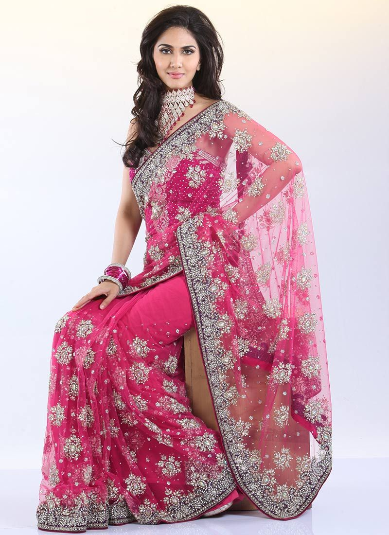 Pink Crystals Enhanced Net Saree | Embroidered Net Sarees | Party ...