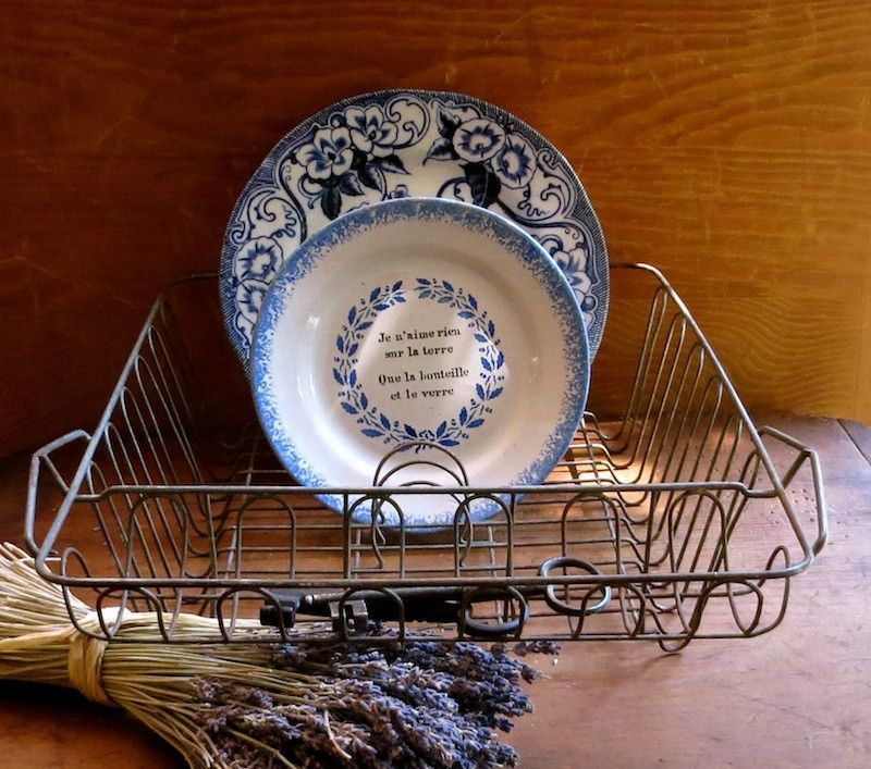 Vintage Wire Dish Drainer, Drying Rack, Silverware Compartment, Farmhouse Kitchen Decor