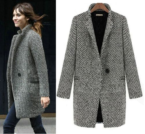 2013 Design New Spring/Winter Trench Coat Women Grey Medium Long ...