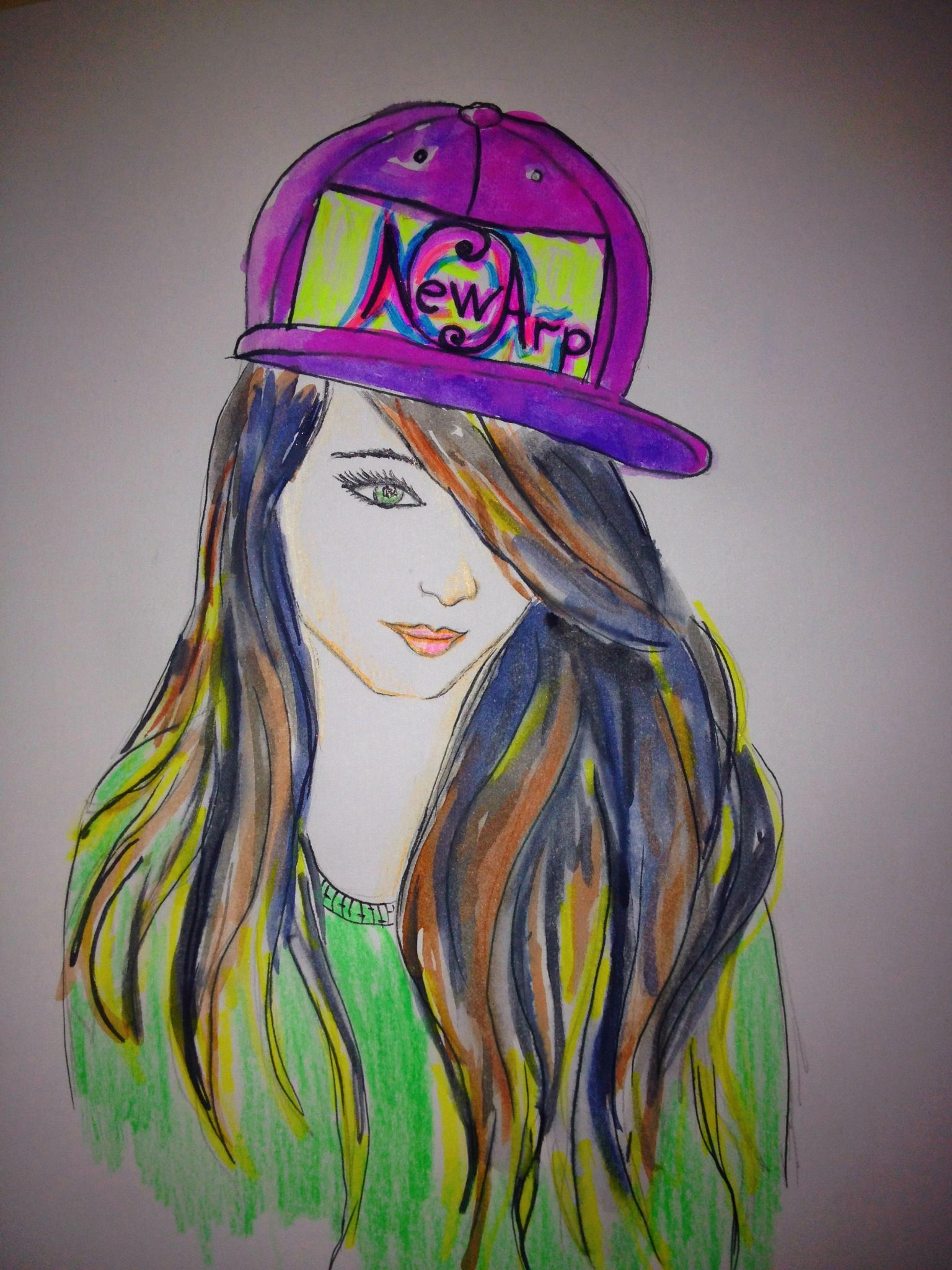 fashion sketch swag girl style colorful drawing