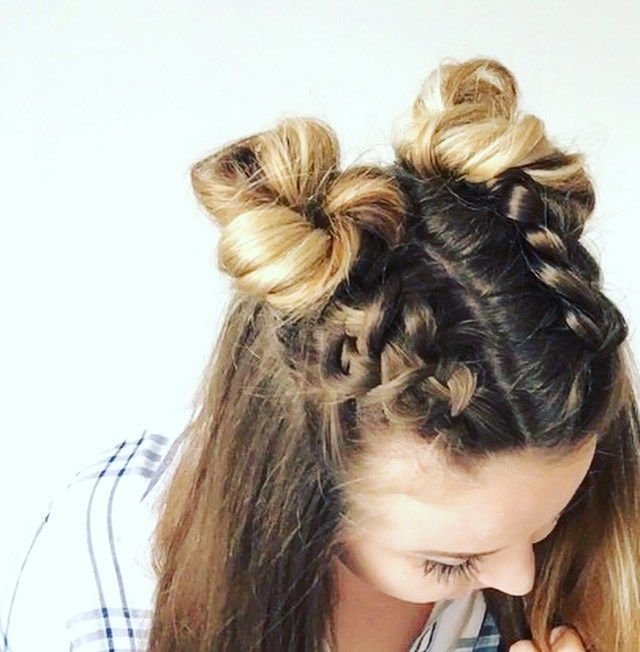 Double Dutch Braid Buns Half Up Hairstyle Cassie Scroggins Braided Bun Hairstyles Two Buns Hairstyle French Braid Hairstyles