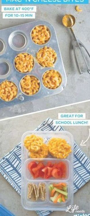 Here is an easy and FUN bento box lunch idea for your kids. If your kids LOVE Mac'n cheese like mine do, then you can serve these MAC'n cheese bites in their bento box for lunch. #bentoboxlunch