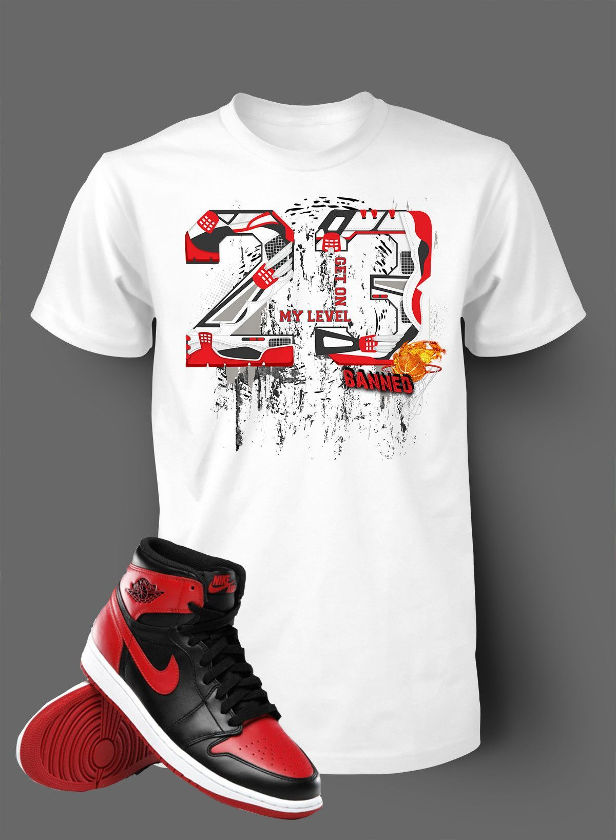 0547365160f Graphic Shattered T Shirt To Match Retro Air Jordan 1 Banned Shoe ...