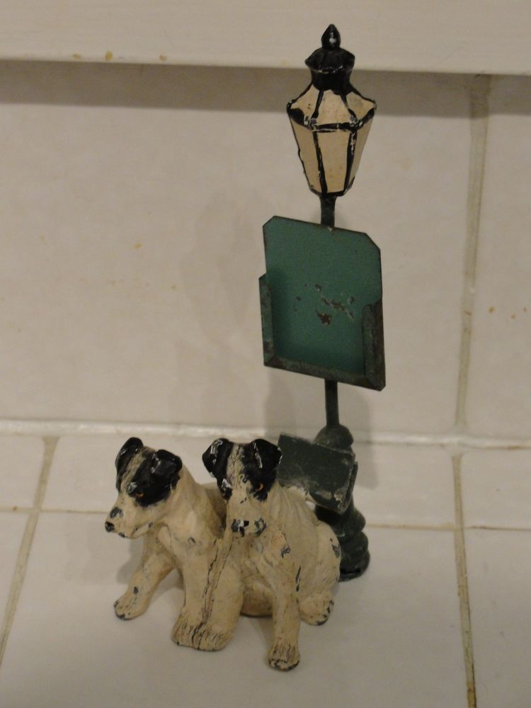 Antique German Heyde Lead figurine Fox Terrier Dogs with Street light lamp