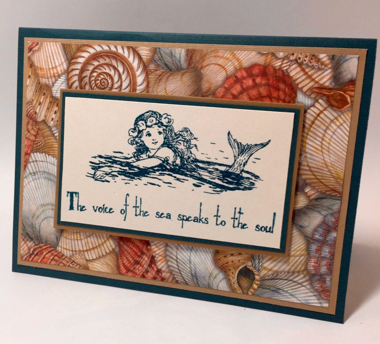 mermaid note card ocean shells nautical beach