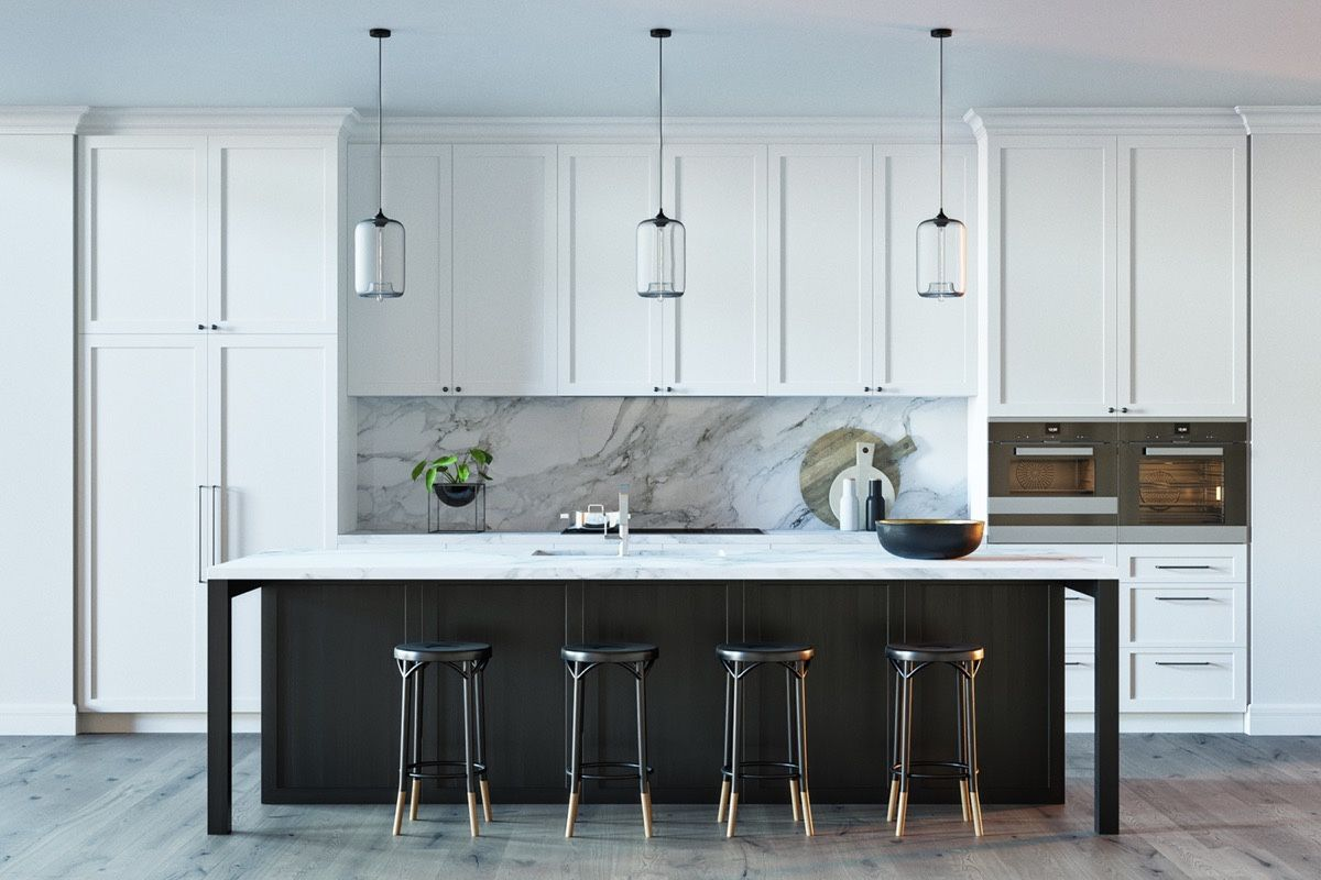 Black Stained Kitchen Island White Marble Countertop And Backsplash ...