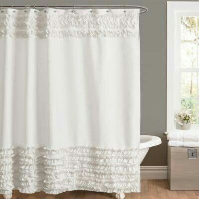 Amelie Ruffle 54 Inch X 78 Inch Shower Curtain In White 54 X 78