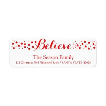 Believe stars holiday label - free christmas return address labels template