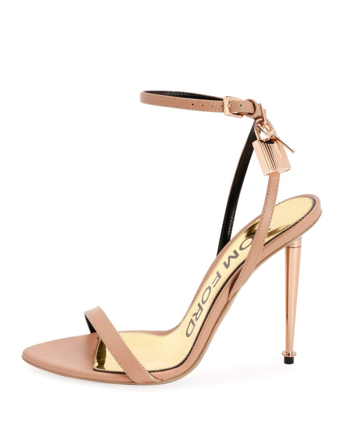 6dcef708cd9 Tom Ford Lock Ankle-Wrap Soft Calf Leather Sandal
