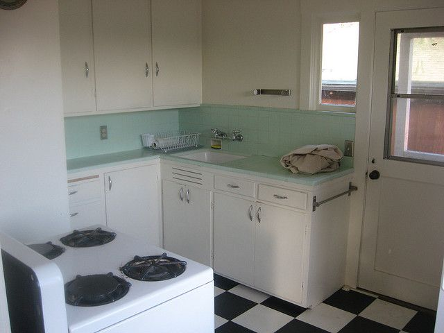 Mint green tile counter top 1930 39 s to 1950 39 s kitchen for 1950s kitchen floor