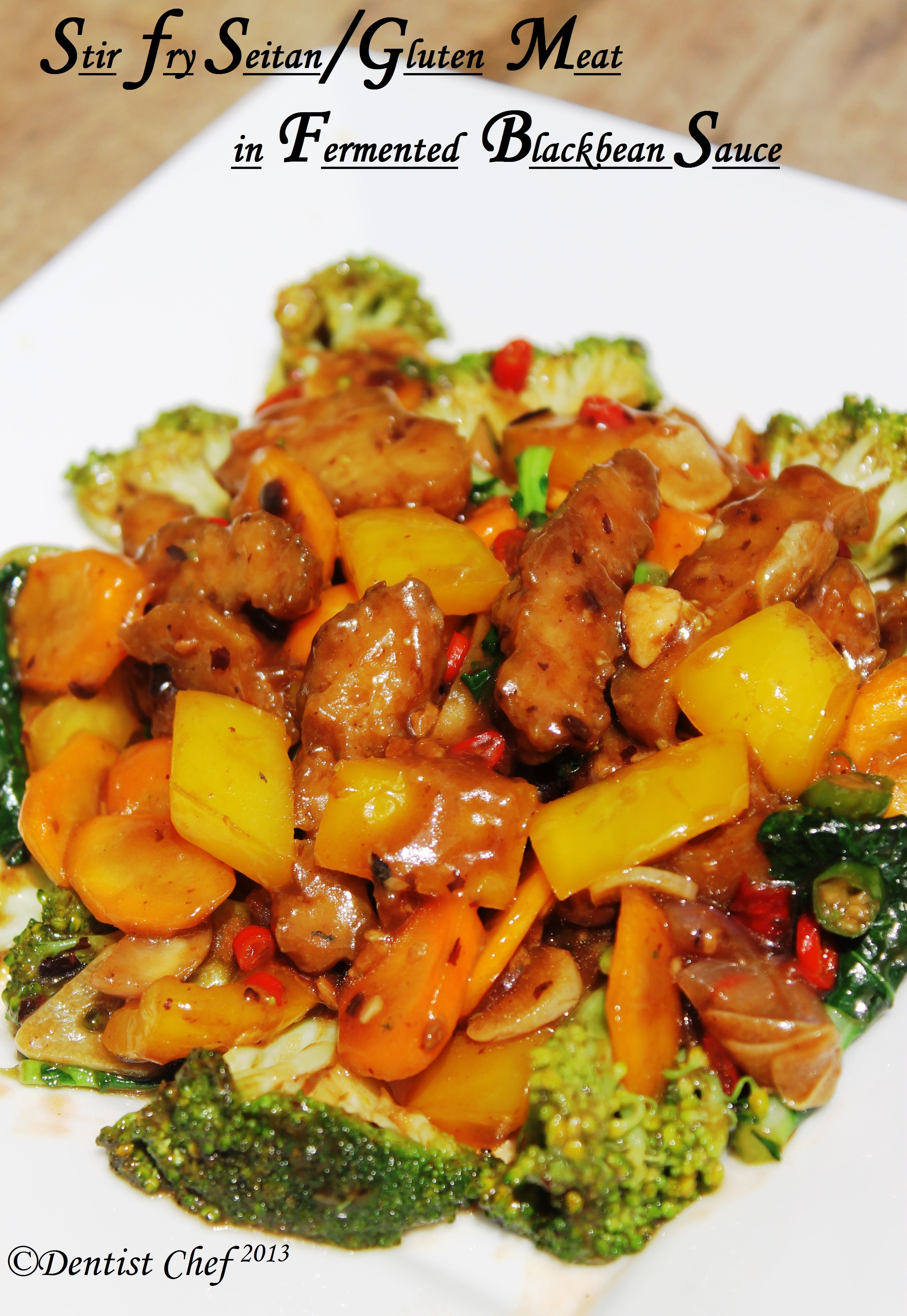Stir Fry Seitan Gluten Vegetarian Meat In Fermented Black Bean Sauce Meatless Monday Features Resep Masakan Cina Masakan Vegetarian Resep Vegetarian