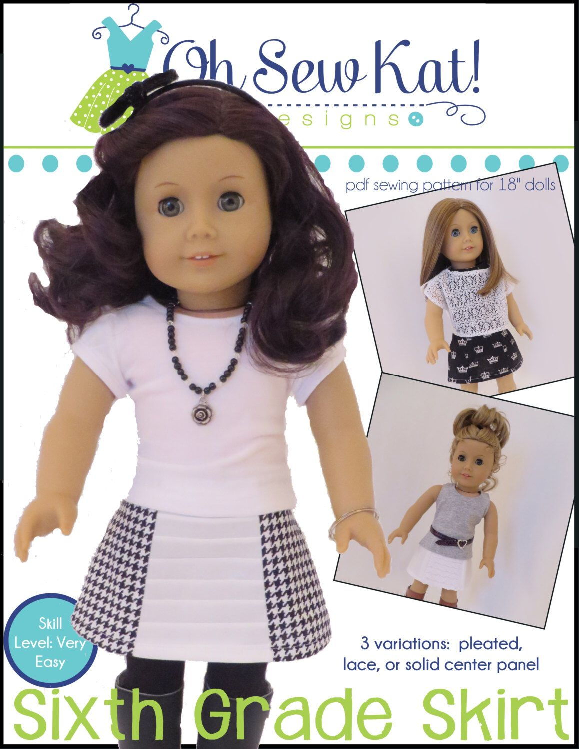 Doll Clothes Skirt Sewing Pattern PDF for 18 inch dolls: Sixth Grade ...