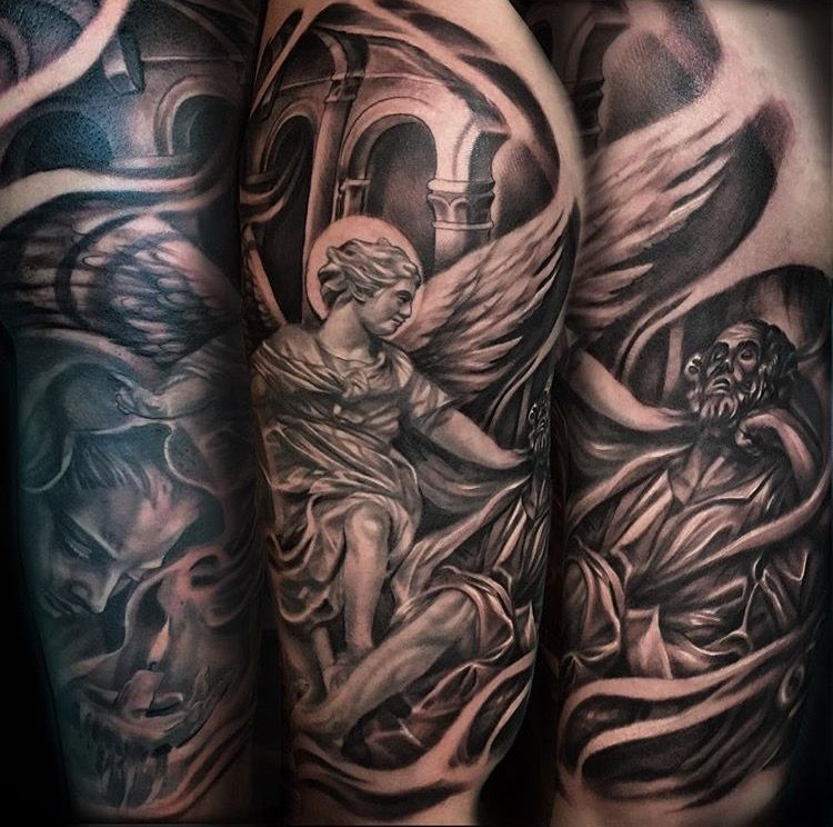 Tattoo Ideas Joe: Black And Grey Religious Tattoo. Mother Mary, Joseph's