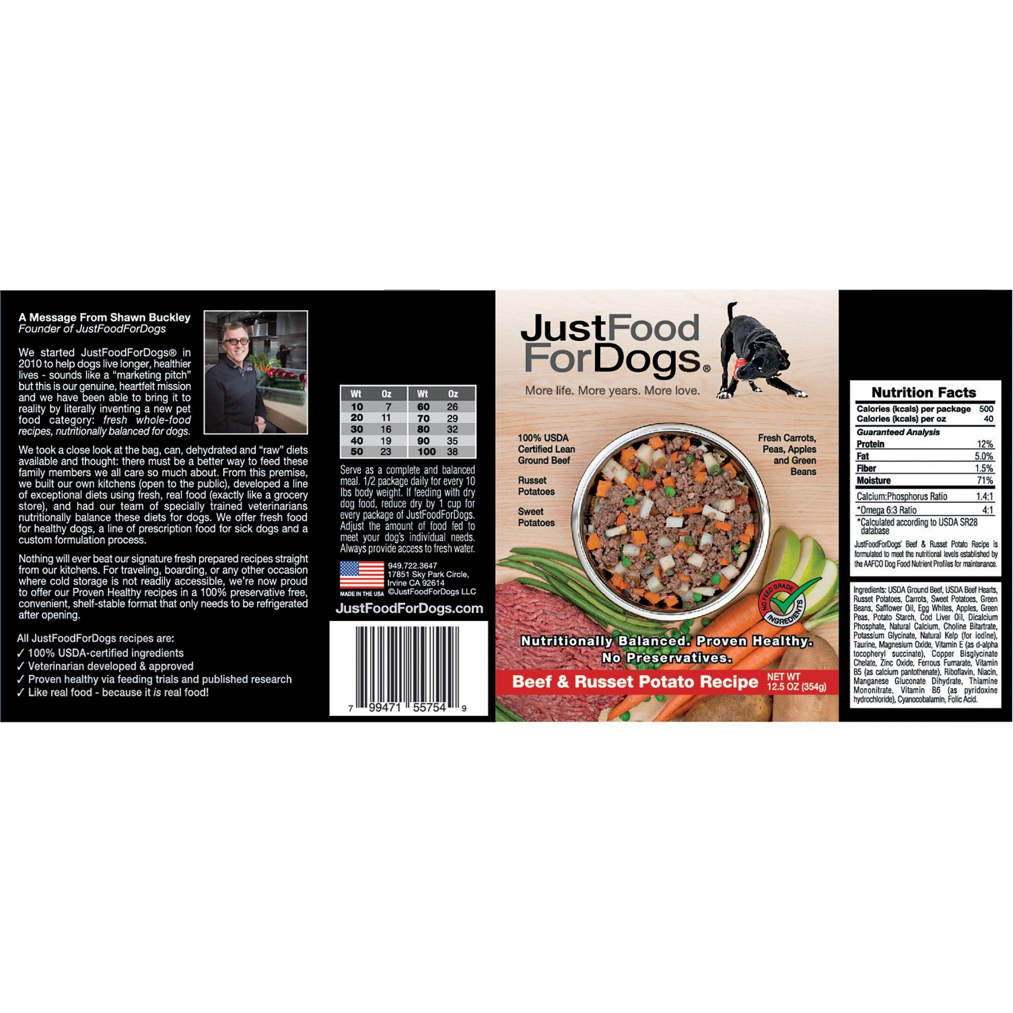 JustFoodForDogs Pantry Fresh Beef and Russet Potato Dog Food, 12.5 oz., Case of 12, 12 X 12.5 OZ #russetpotatorecipes