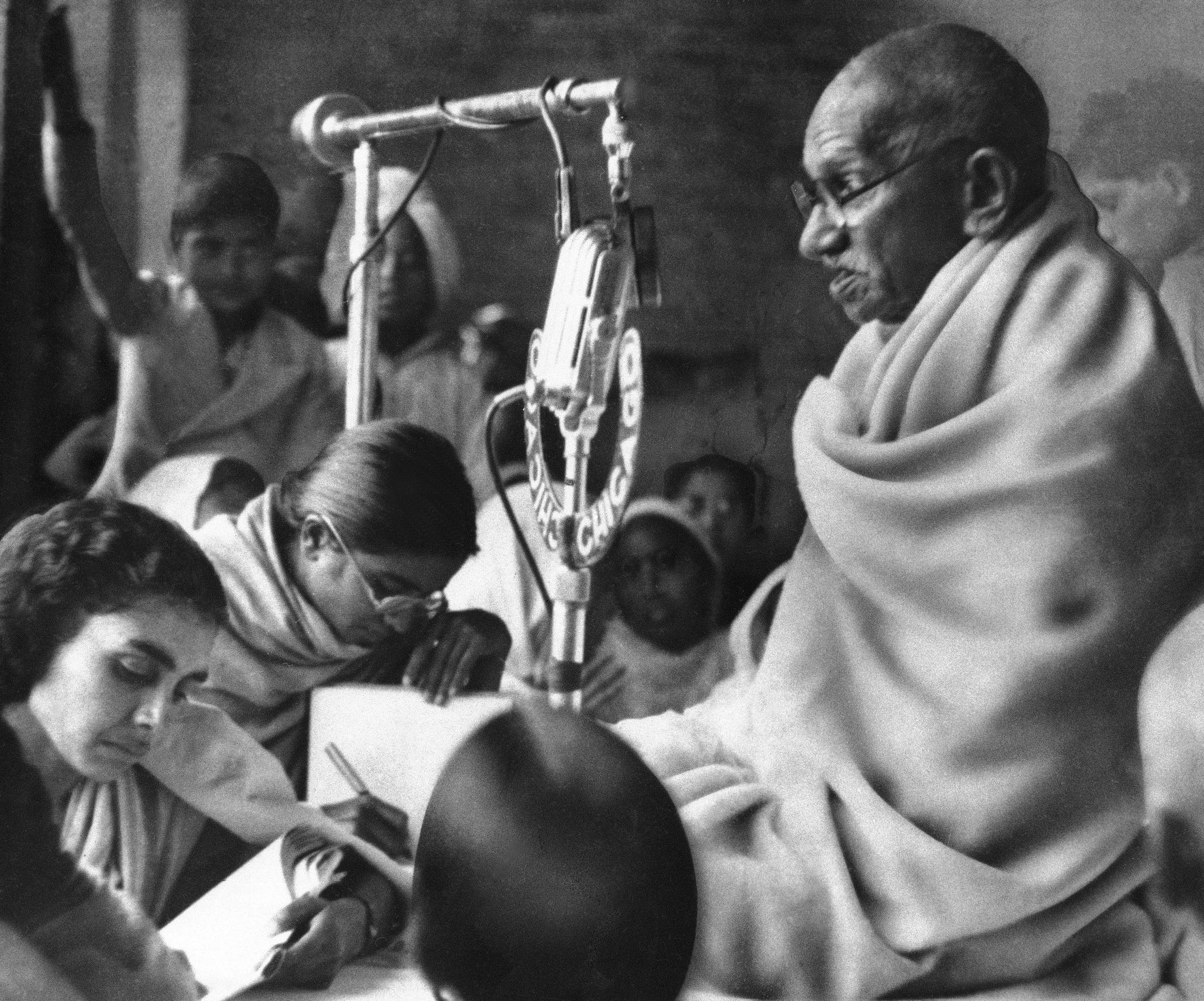 this January 22, 1948 photo, Gandhi is seen addressing a ...