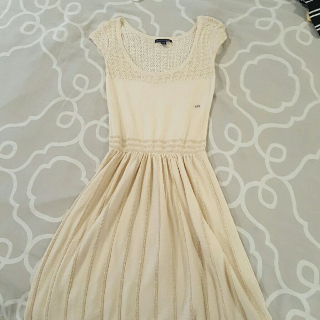 American eagle outfitters cream and gold dress american eagle