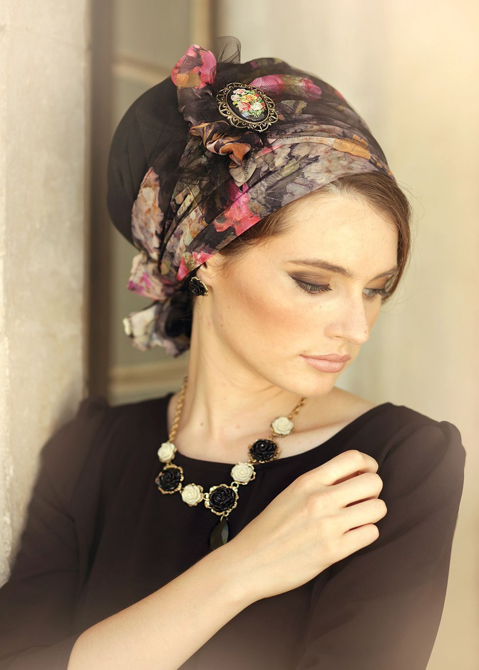 Stunning floral head covering. Turban hats 325c65e1176d