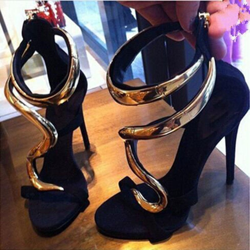53.08$  Watch now - http://aij10.worlditems.win/all/product.php?id=32774886733 - Summer shoes women newest style open toe snake designs sandals sexy metallic gold high heel pumps