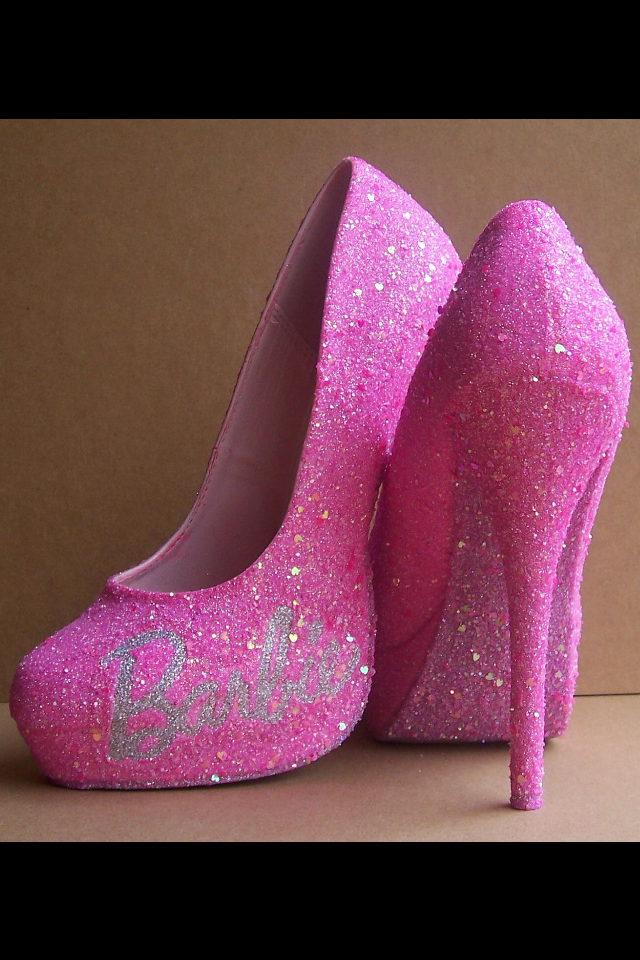 BARBIE SIZE SHOES-NEON PINK ANKLE STRAP HIGH HEELS