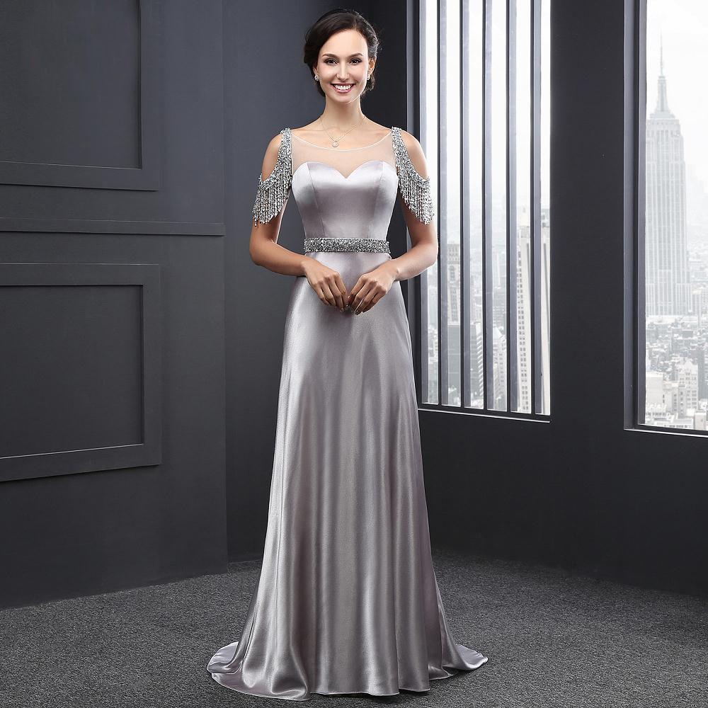 Günstige Elegante Silber Satin Langes Abendkleid 2016 Robe De Soiree ...