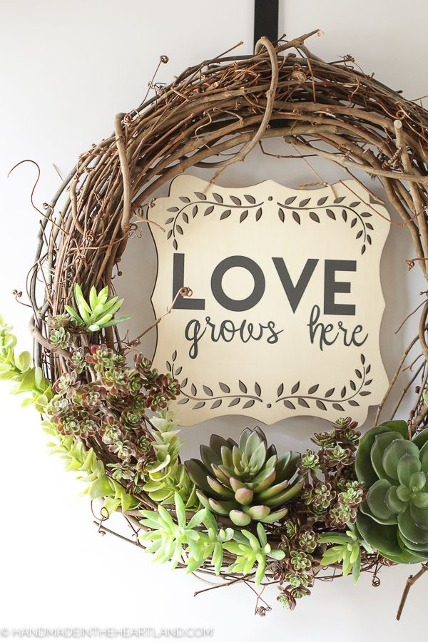 How to make a succulent wreath, This faux succulent wreath with vinyl lettering sign is so easy to make! A fun easy spring craft!