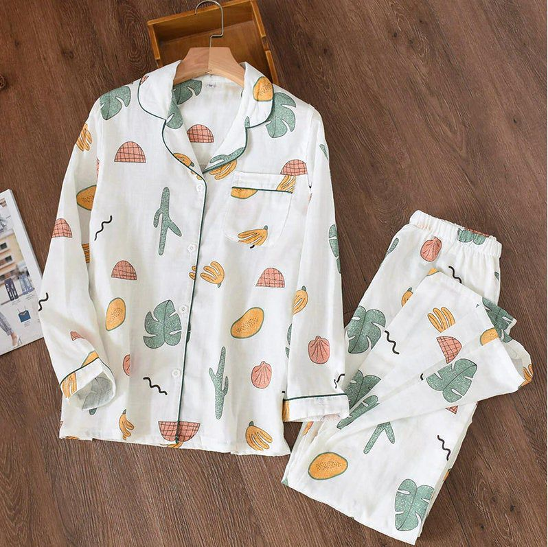 Women 100/% Gauze Cotton Long Sleeves Pajamas Set Avocado Prin Sleepwear Homewear