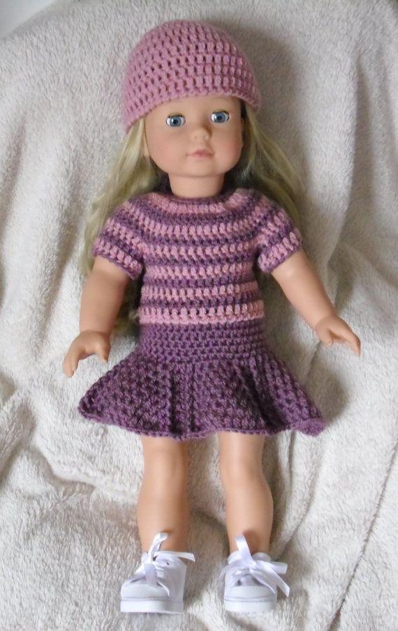 PDF Crochet pattern for jumper skirt and hat set for 18 inch