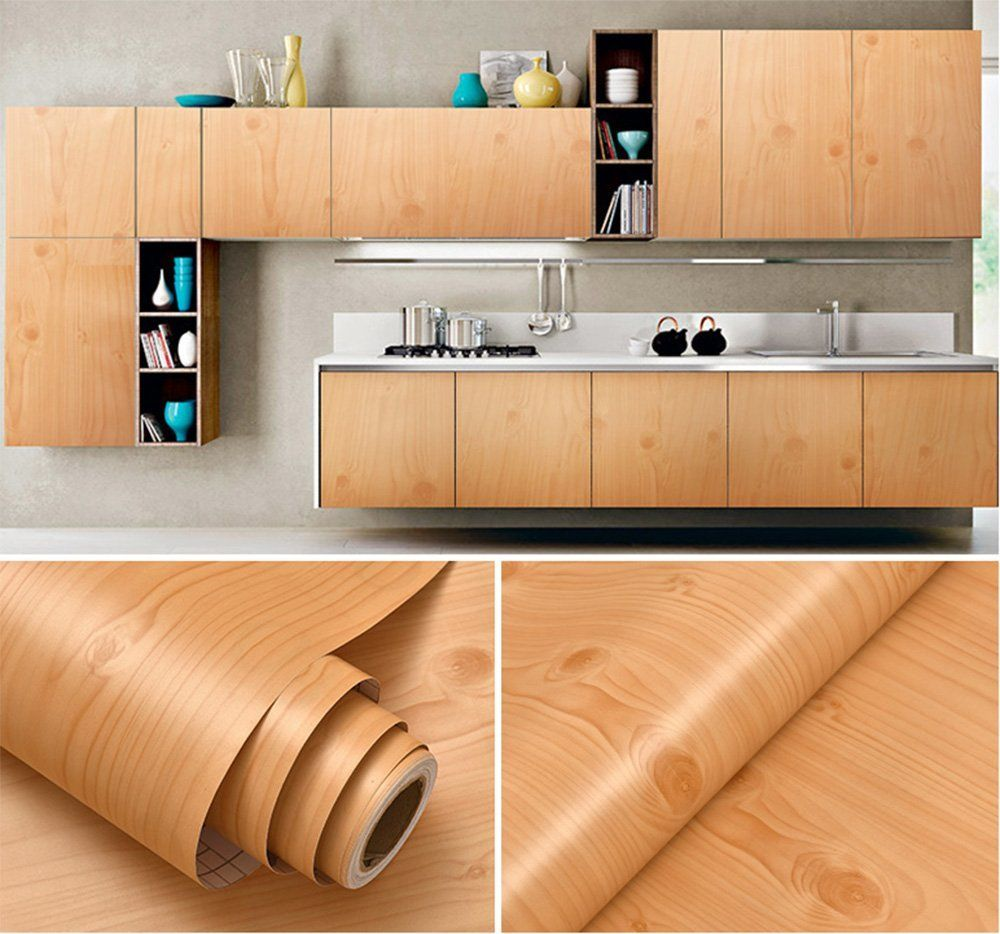 Contact Wood Grain Wallpaper Self Adhesive Paper Countertop Cabinet Shelf Liner