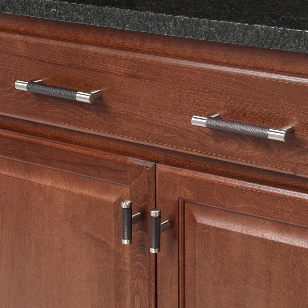 Amerock Esquire 5 1 16 In 128 Mm Center To Center Satin Nickel Oil Rubbed Bronze Cabinet Drawer Pull Bp36558g10orb The Home Depot In 2021 Amerock Bronze Cabinets Oil Rubbed Bronze