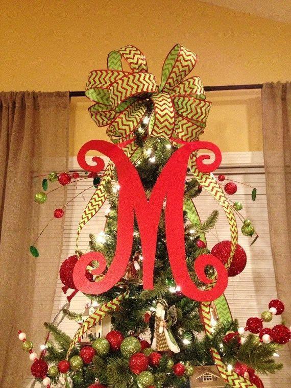 Monogram Christmas Tree Topper, Front Door Letter, Letter for Wreath,  Initial, Signage - Monogram Christmas Tree Topper, Front Door Letter, Letter For Wreath