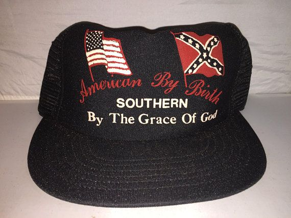 ded712418b496 Vintage American By Birth Southern By Grace of God Trucker Snapback hat cap  80s MADE IN