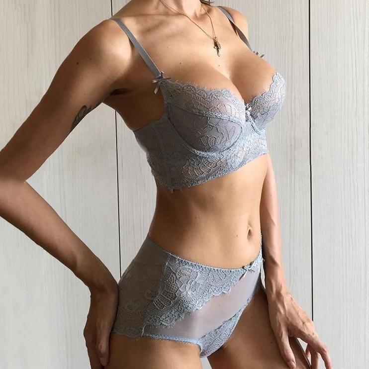Deep V Sexy Underwear Ultrathin Lace Bra Panty Set Plus Size Women Lingerie Set