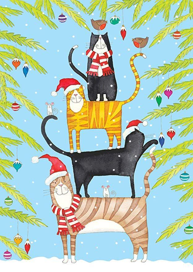 Entertaining with Caspari Christmas Cat Tower Christmas