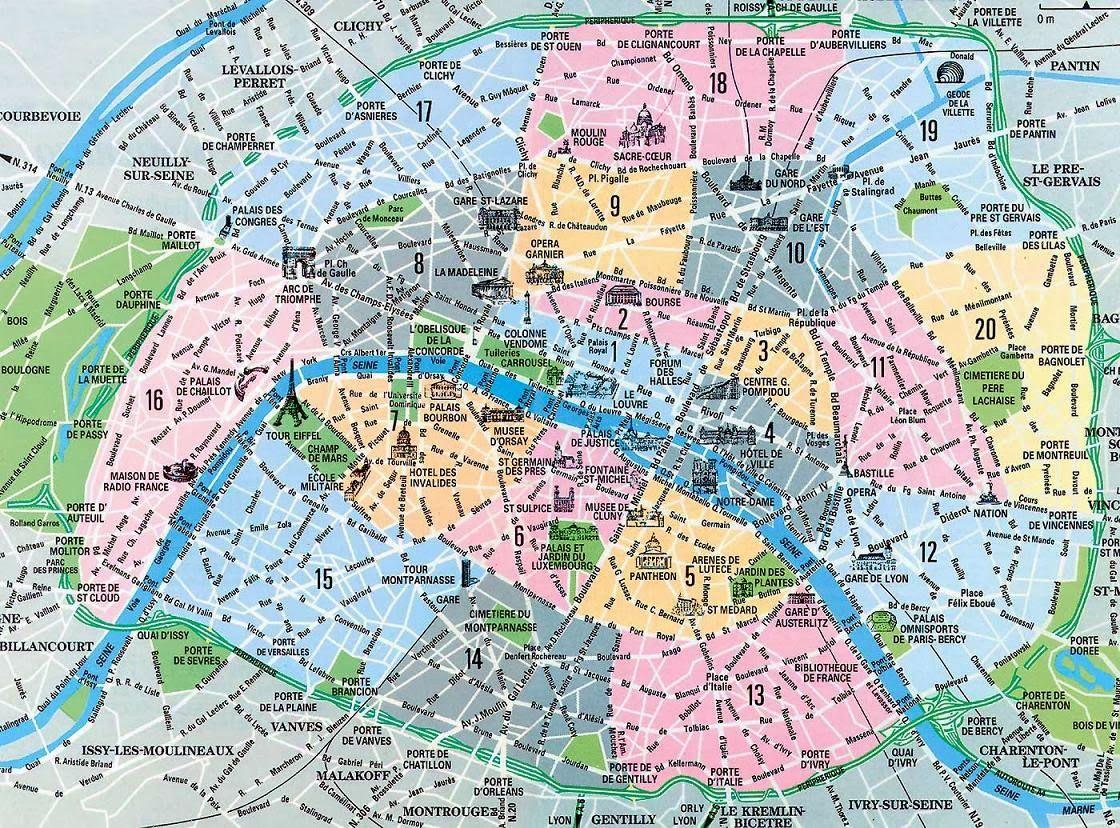 Districts Of France Map.Map Of Different Districts In Paris Raquel Ritz Viajes Mapa De