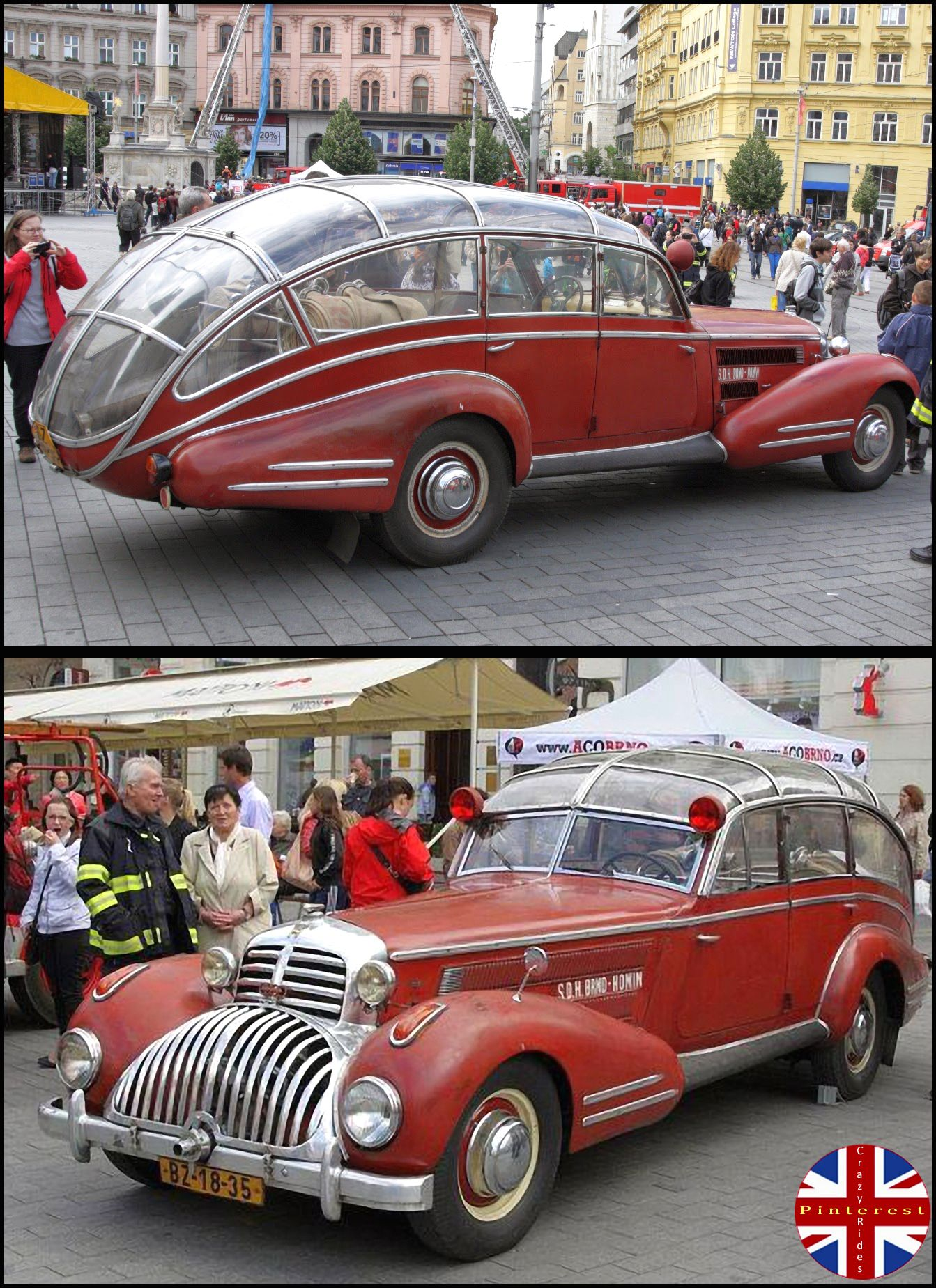 This antique car is actually a fire truck. It\'s a 1941 Horch 853 ...