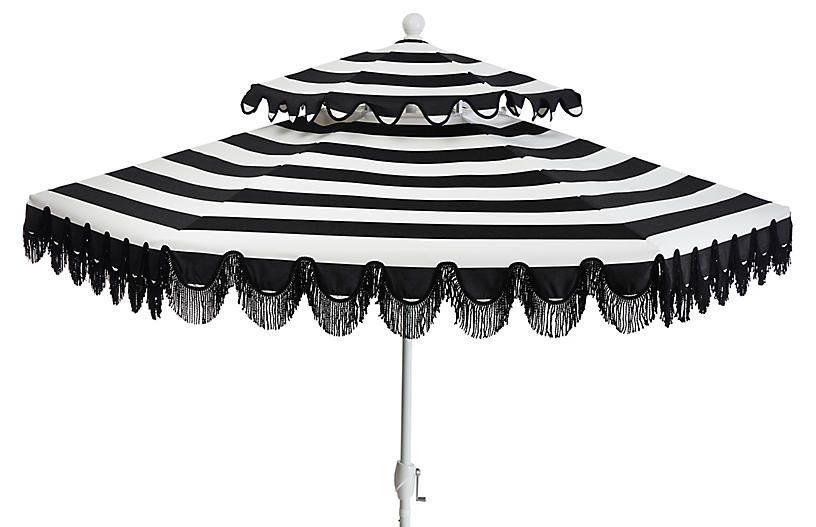Daiana Two Tier Patio Umbrella Black White Stripe In 2020