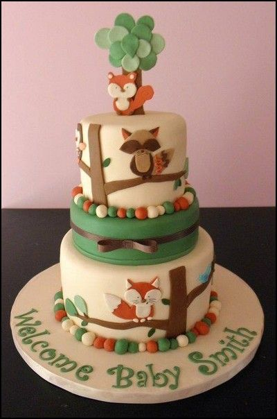 Woodland Themed Baby Shower Cakes Baby Pinterest Shower Cakes