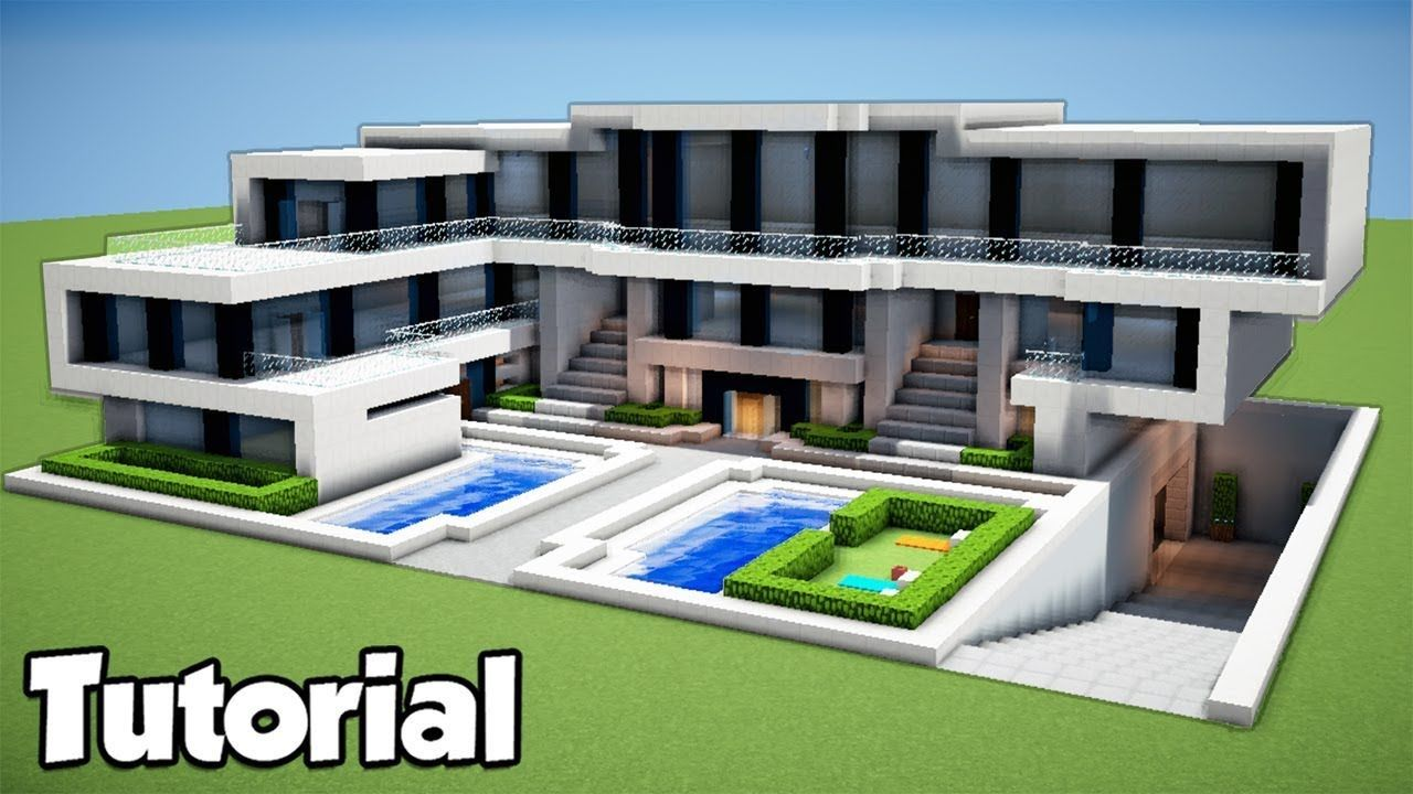 Minecraft How To Build A Large Modern House Tutorial 2018 Minecraft How To Build A Large Modern House Tu In 2020 Moderne Hauser Bauen Modernes Haus Haus Bauen