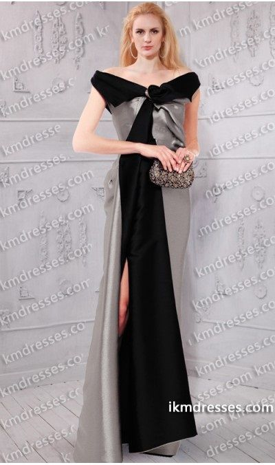 tunning off the shoulder two tone color block satin gown Black Dresses Multi-Color Dresses Silver Dresses