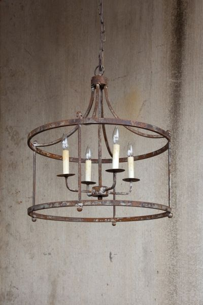 Charleston Large Iron Pendant Finished Canopy Rustic
