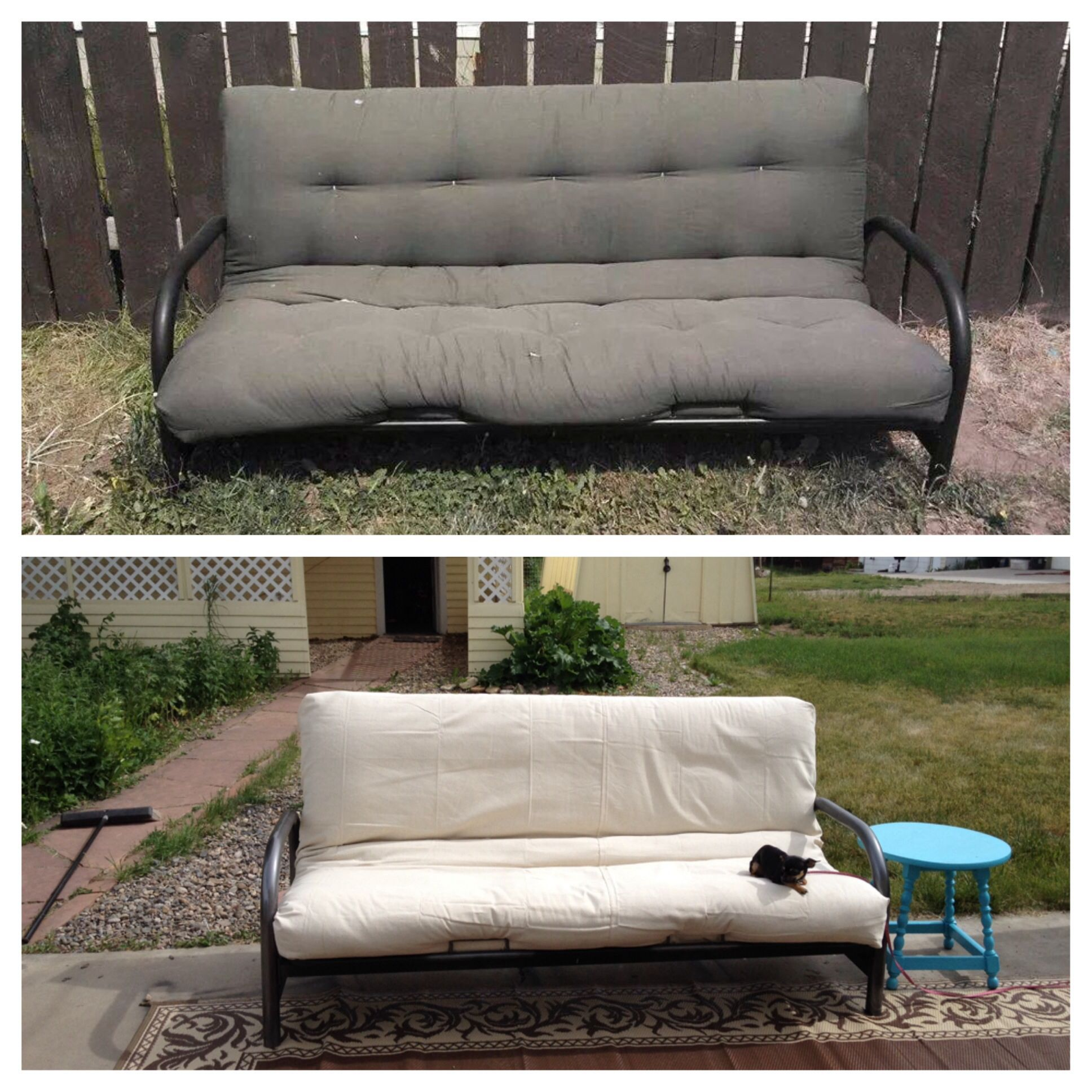 Bought This Old Futon For Patio For 15 And Recovered It With Painters Tarp And Just Safety Pinned It To The Back Easy Waterpro Outdoor Futon Diy Futon Futon