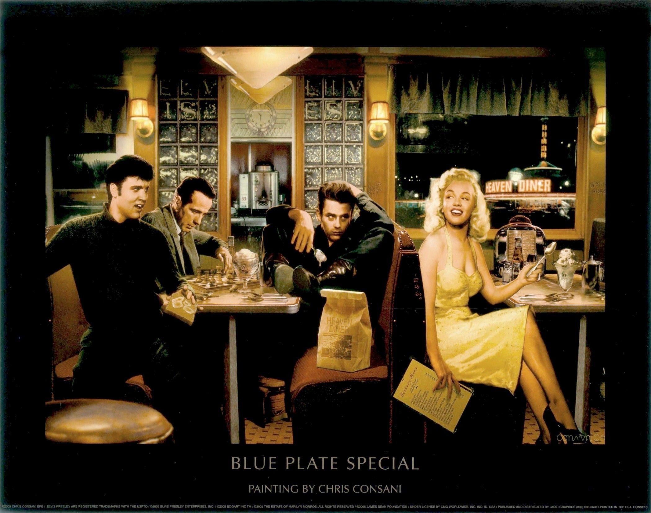 James Dean,Marilyn Monroe,Elvis Presley and Humphrey Bogart by Chris Consani