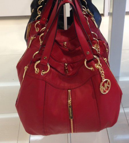 Michael Kors Moxley Md Shoulder Tote Red Leather Excellent Handbags