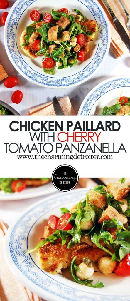 Pan Fried Chicken Paillard With Cherry Tomato Panzanella The Charming Detroiter Recipe Chicken Paillard Pan Fried Chicken Cherry Tomatoes