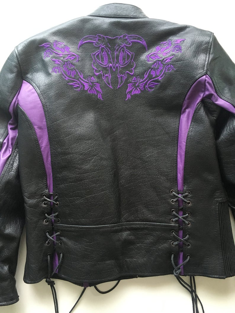 Black and Purple Leather Motorcycle Jacket Xelement Size L