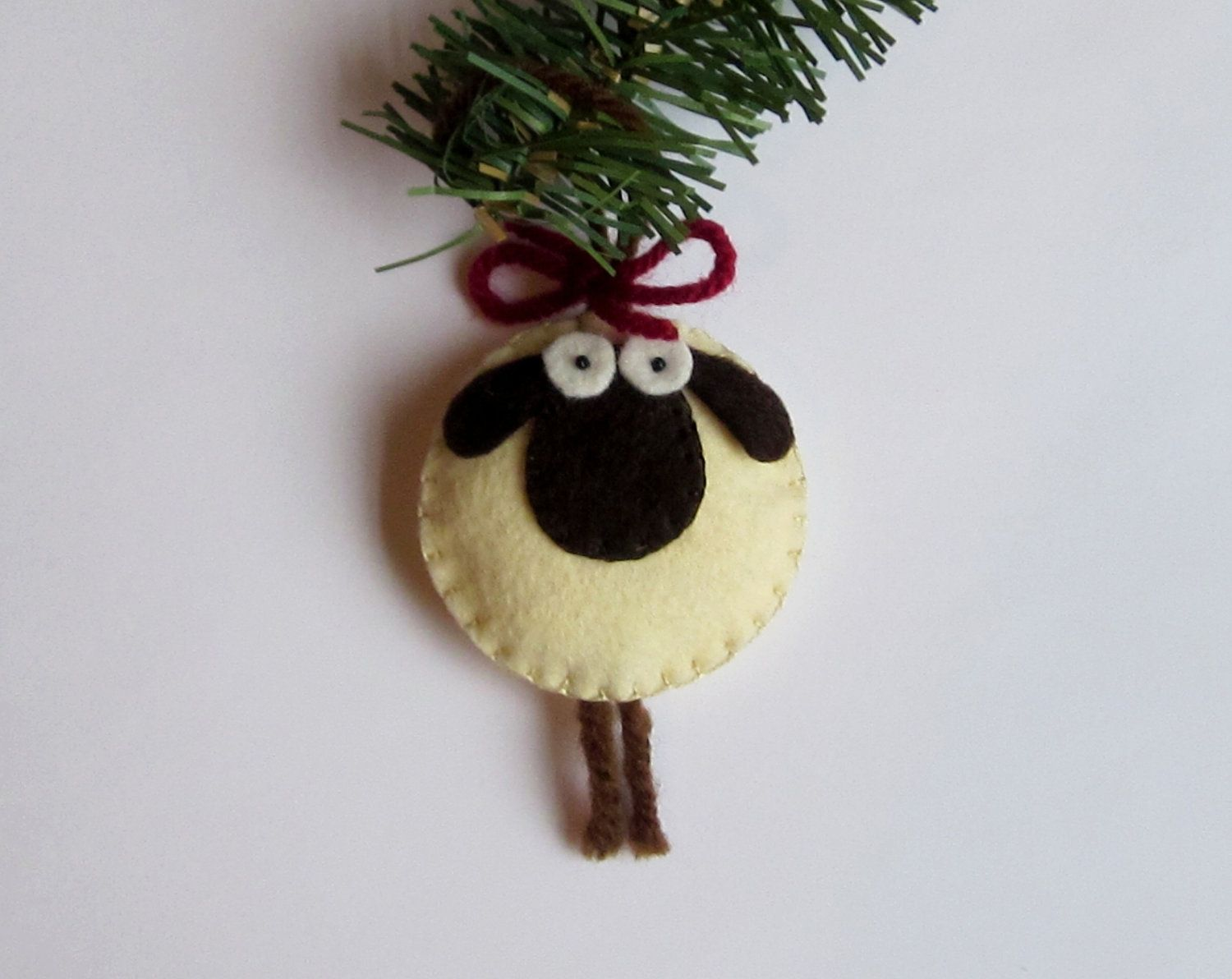 giorgio the sheep christmas ornament felt via etsy