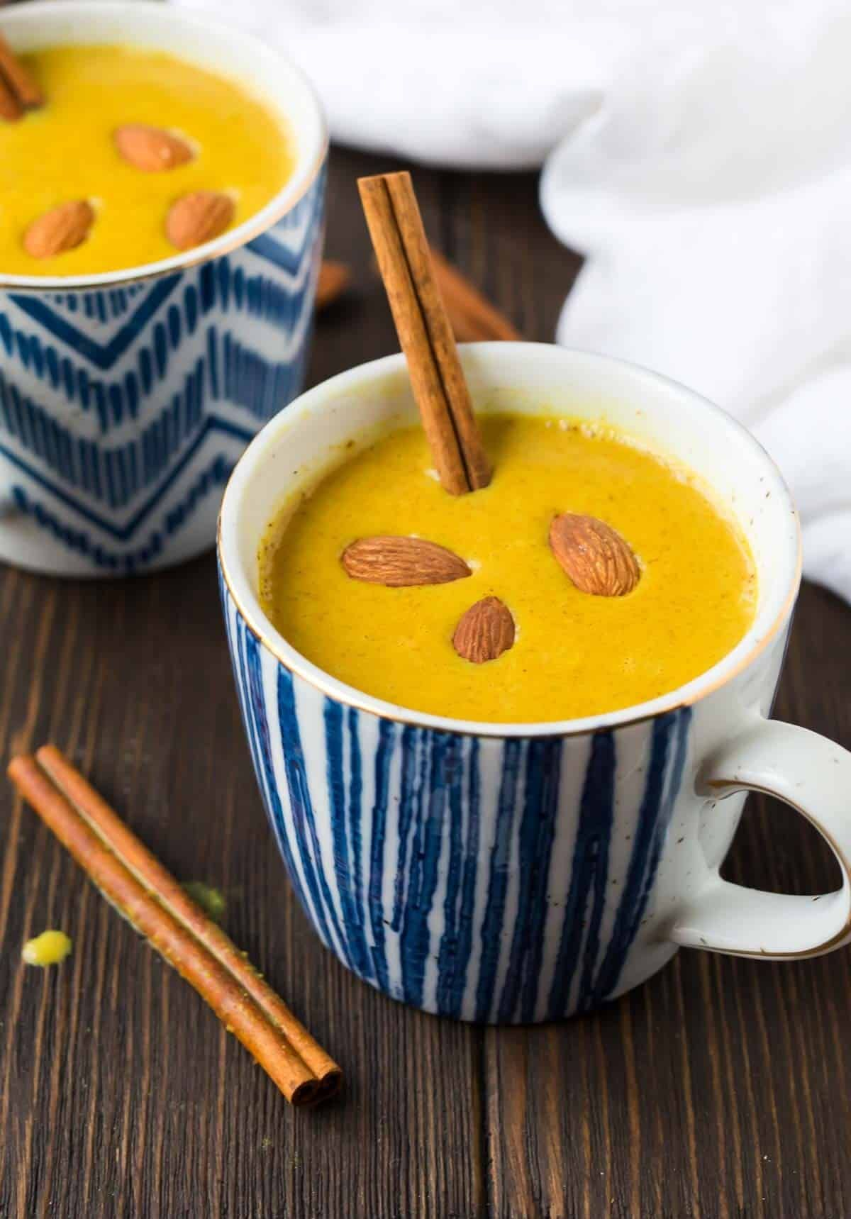 soothing bedtime cinnamon golden milk. a warm, vegan drink to help