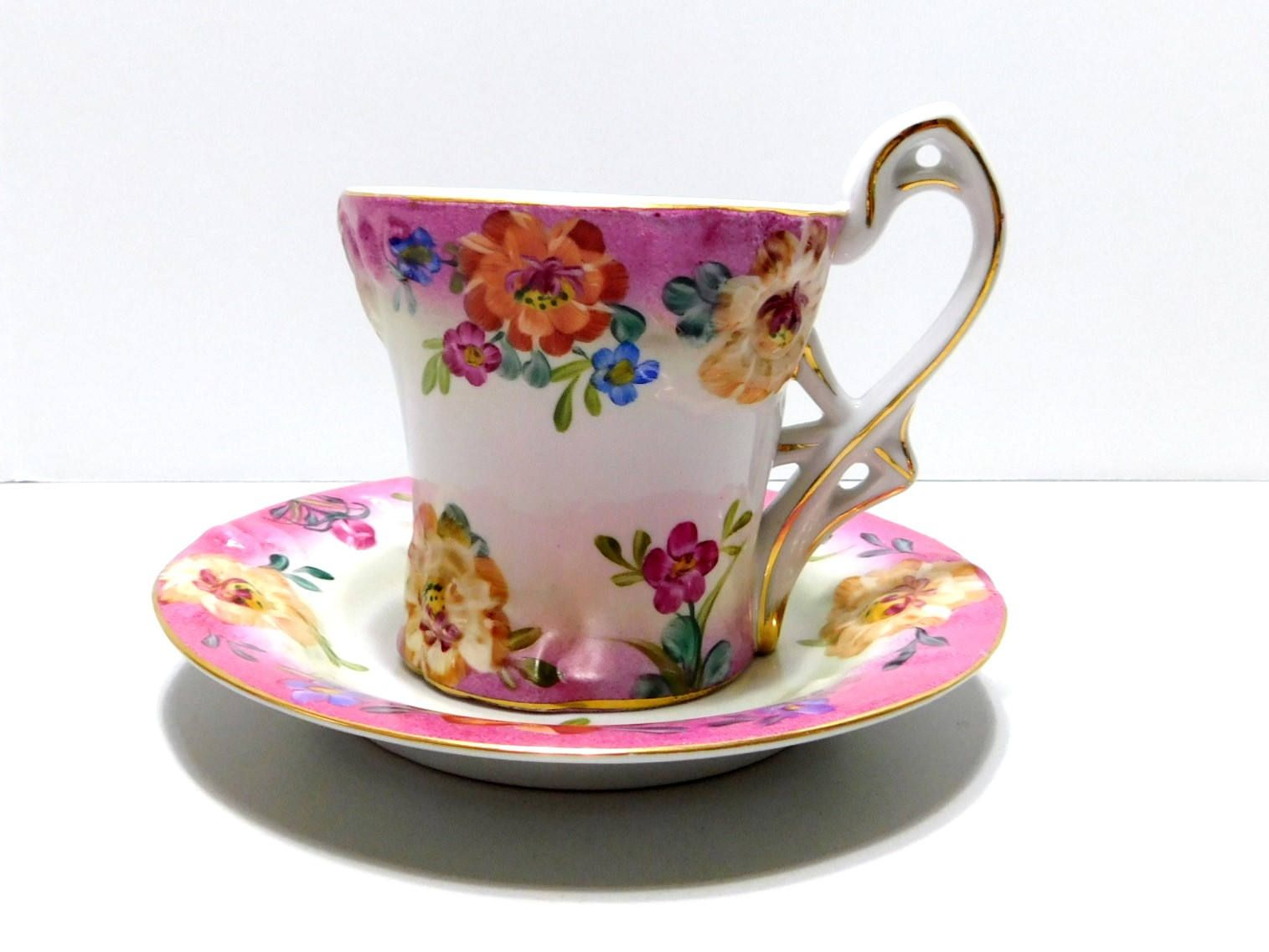 Vintage Limoges China Teacup Saucer Set Raised Floral Pattern Decorative Only Gold Trim Pink White By Eclecticfaves On Tea Cups Tea Cup Saucer Tea Cups Vintage