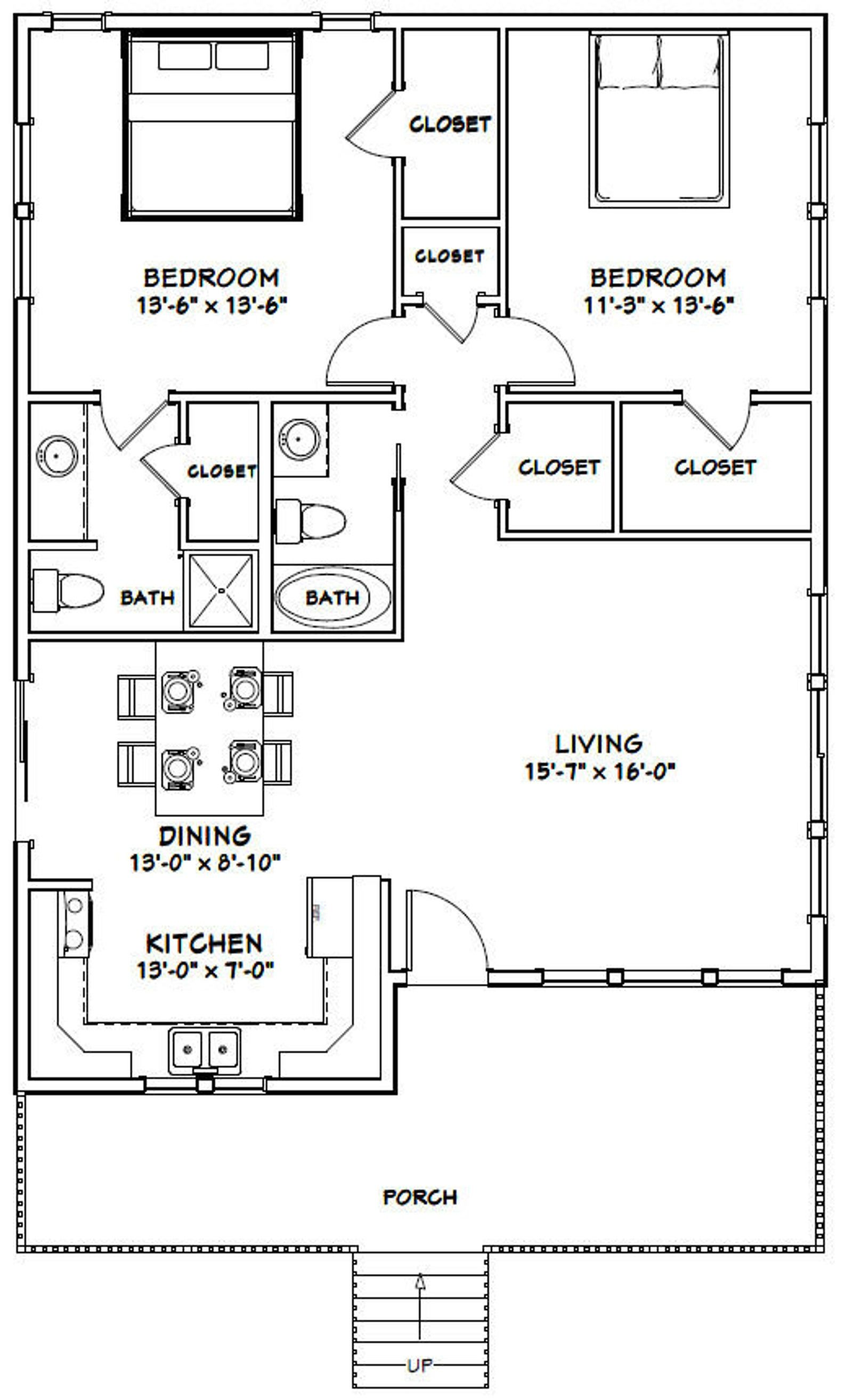 30x40 House 2 Bedroom 2 Bath 1 136 sq ft PDF Floor Plan Instant Download Model 1