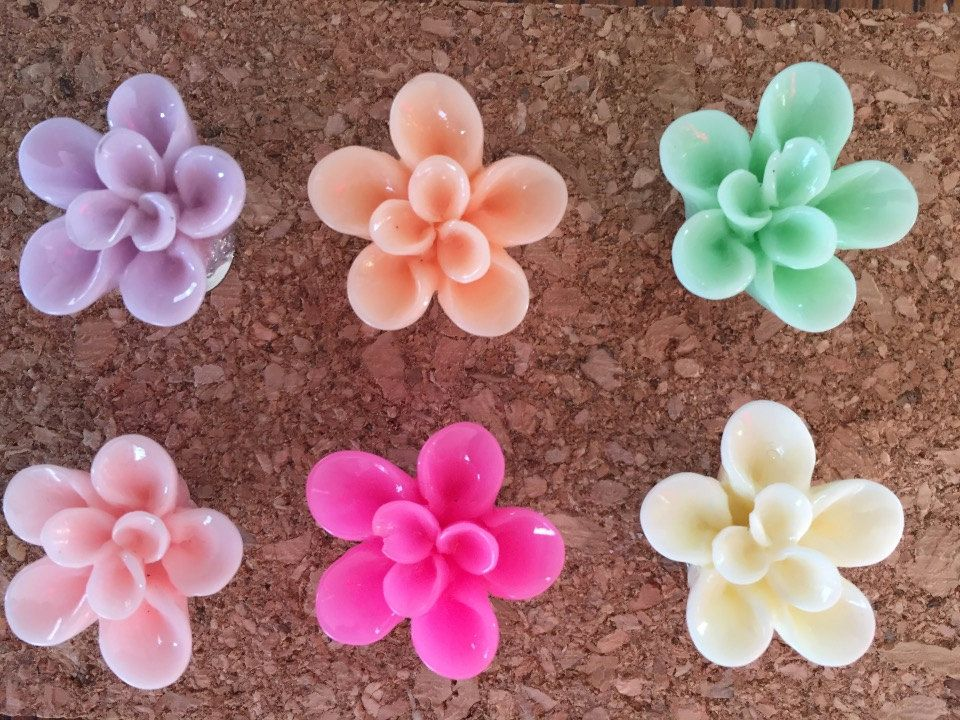 25mm Resin Flower Cabochon Push Pins - Set of 6 - 6 Colors to Choose From by TheCountryGal on Etsy